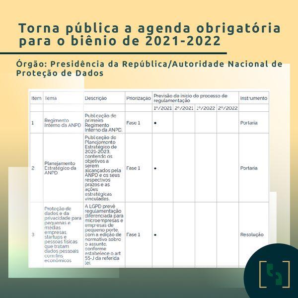 TORNA PÚBLICA A AGENDA OBRIGATÓRIA PARA O BIÊNIO DE 2021 - 2022