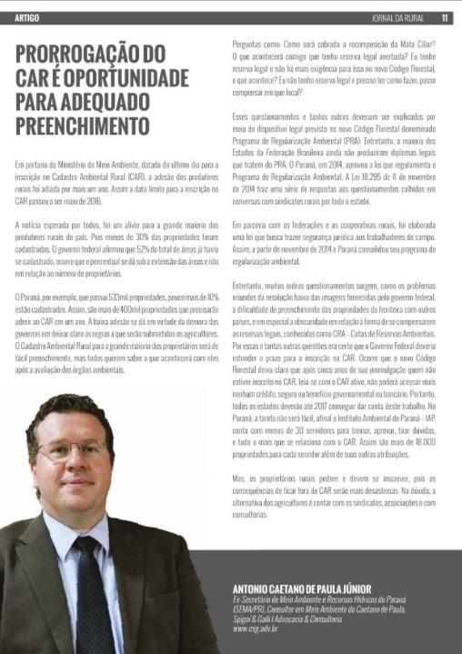 JORNAL DA RURAL DESTACA PRORROGAÇÃO DO CAR COM CONSULTOR CSG