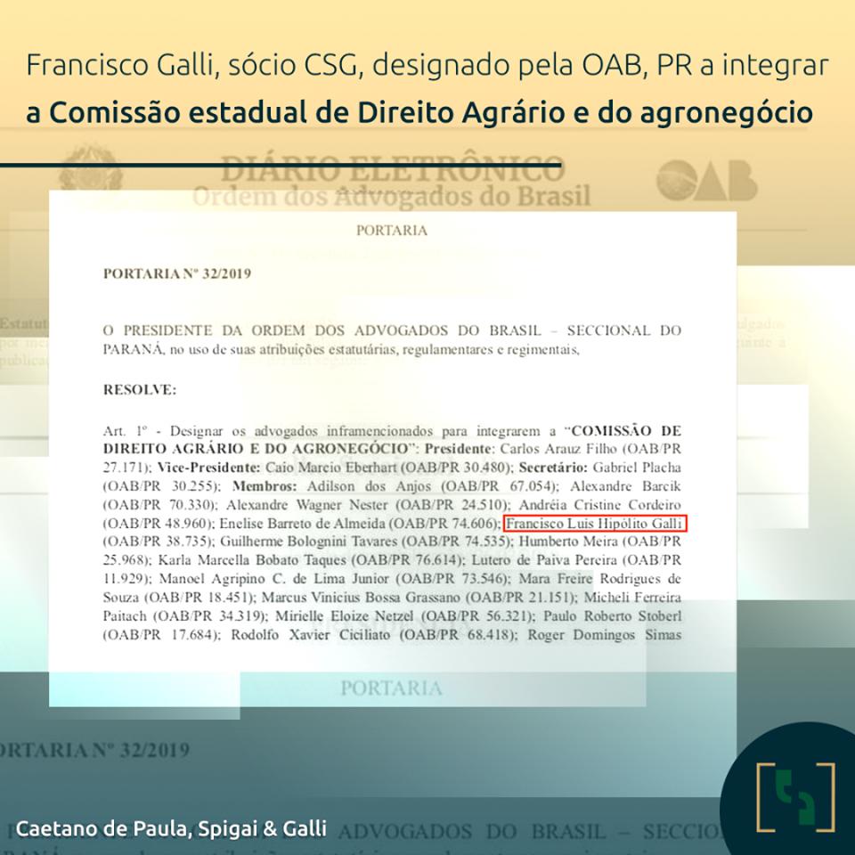 SÓCIO CSG INTEGRA COMISSÃO ESTADUAL DE DIREITO AGRÁRIO